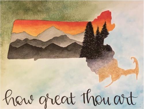 Avery Schaub - How Great Thou Art - Watercolor - Cardinal Spellman High School