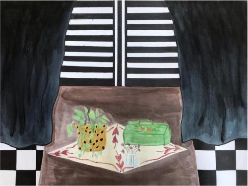 Danielle Russell - Imitating Henri - Watercolor and Ink - Paul VI High School