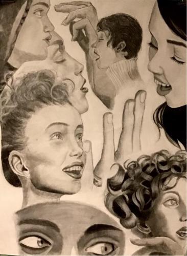 Emily Petrillo - Art Collage - Graphite, Conte Crayon, Charcoal - Paul VI High School