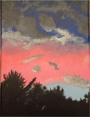 Julia Bourque - Backyard Sunset - Acrylic - West Boylston High School