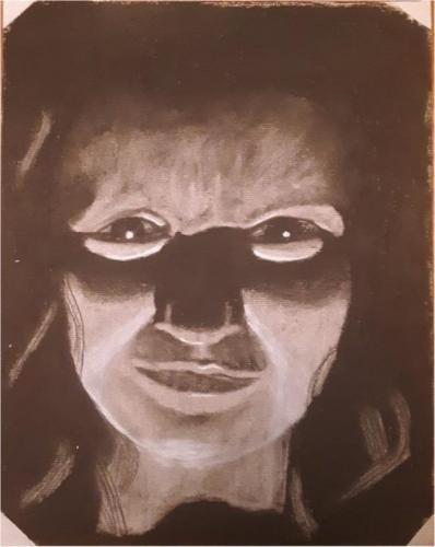 Julia Bourque - High Contrast Self-Portrait - Charcoal- West Boylston High School