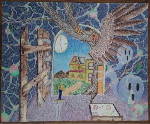 Julia Bourque - Dreams of Imagination - Colored Pencil - West Boylston High School