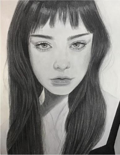 Molly Petrillo - Serious Girl - Conte Crayon and Graphite - Paul VI High School