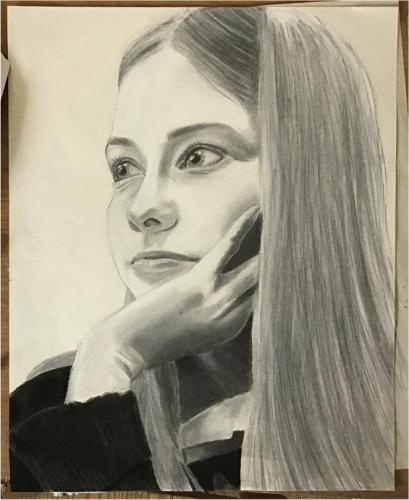 Molly Petrillo - Self Portrait - Conte Crayon, Charcoal, and Graphite - Paul VI High School