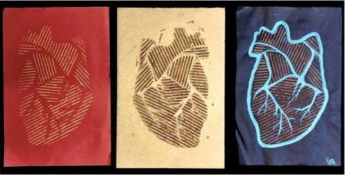 Sam Summa - Heartbeat Repeat - Cardboard, Acrylic, Construction Paper - Bishop Fenwick High School