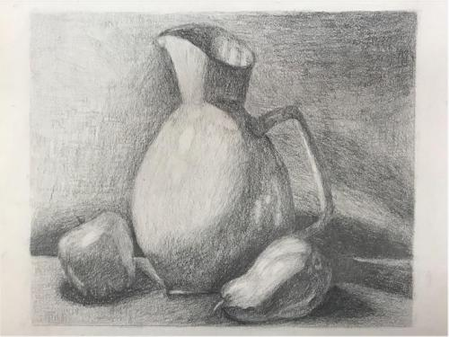 Sofia Nocchi - Still Life with Pitcher and Fruit - Graphite - Paul VI High School
